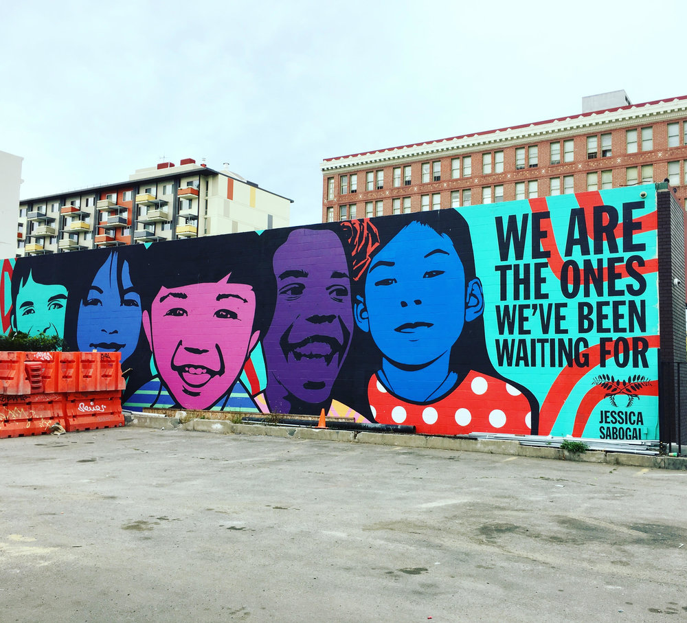 Mural by Jessica Sabogal at Thomas L. Berkley Way and Telegraph uptown.