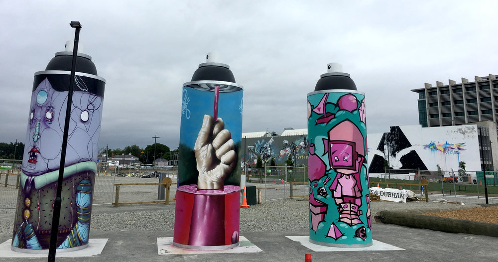 Gap Filler's giant spray paint cans in Christchurch's East Frame.