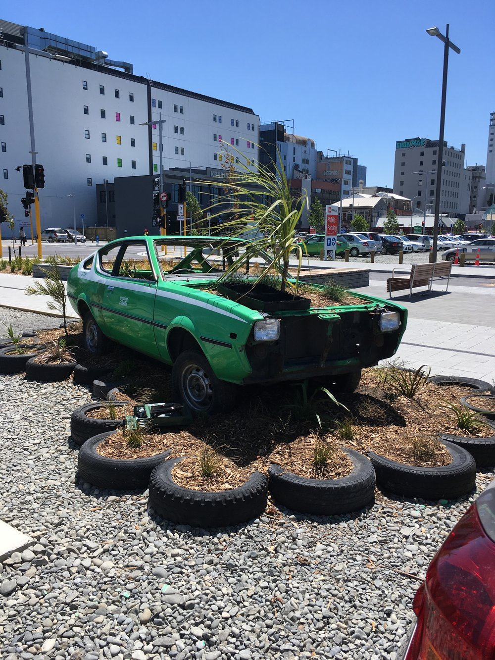 Greening the Rubble car park installation in Gap Filler's community car park, Good Spot.