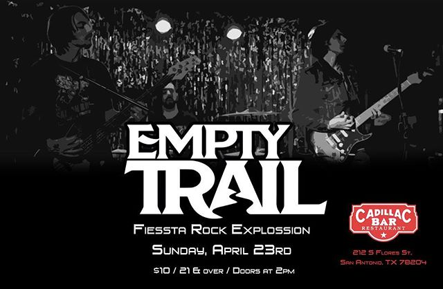 💥*Show Announcement*💥 This coming Sunday, April 23rd at Cadillac Bar Restaurant! For the Fiessta Rock Explossion! There will be a ton of kick ass bands sharing the stage! Come on out! Set time TBA | @hammerheadproductions_satx #sanantonio #texasmusic #rockon #rocker #rocking #rockband #rockandroll #rocknroll #rockmusic #rock #hardrock #metal #metalhead #metalheads #emptytrail #musically #musiclife #musiclover #musiclovers #bandlife #flyers #flyer #guitar #guitars #drums #livemusic #newshow #rockshow #rockstar #rockconcert