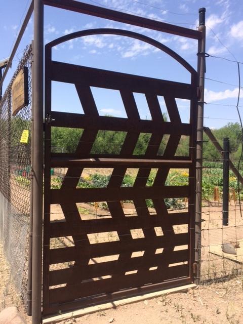 steel gate at Cascabel Community Garden