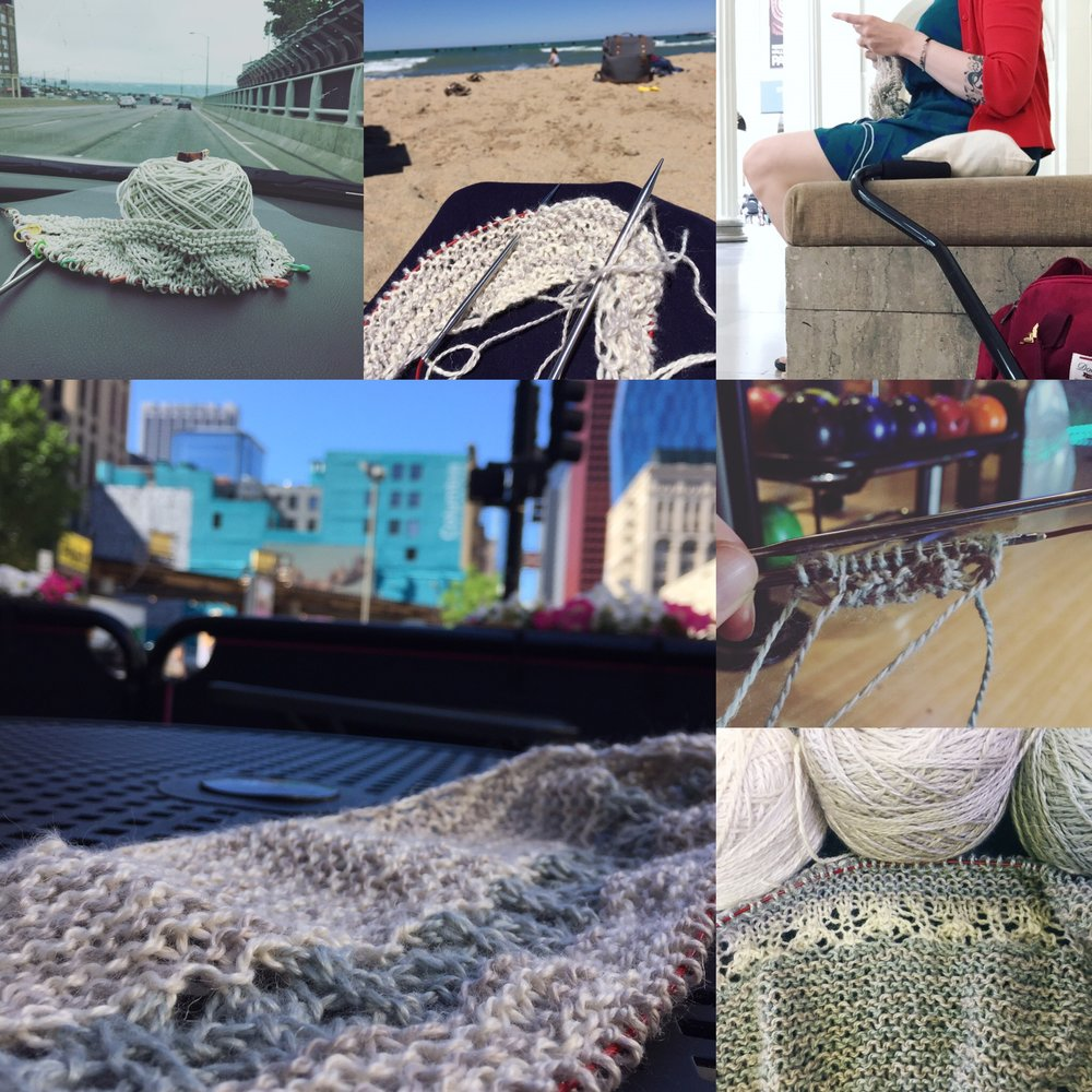 L-R car ride knitting, beach knitting, Field Museum knitting, random sidewalk knitting, bowling alley cast on post frogging, regained knitting in final colors.
