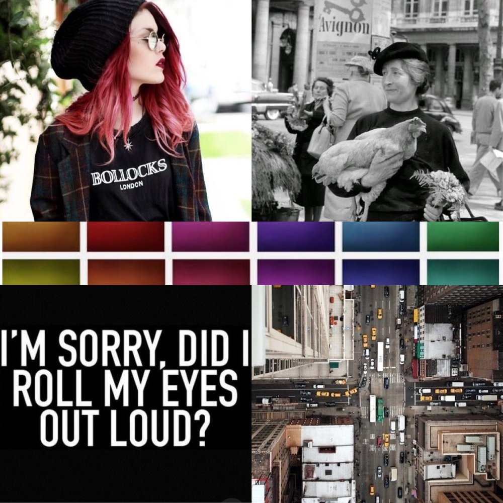 BOLLOCKS ,  LADY CHICKEN ,   EYE ROLL ,  CITY ,  COLOR