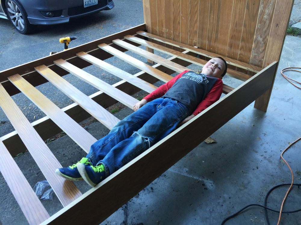 Bed Frame made out of Church Pews