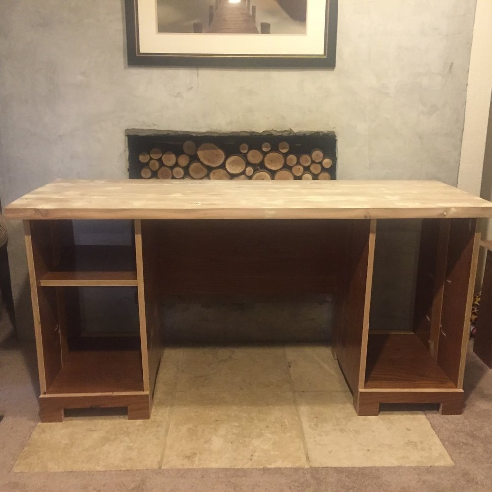 Desk made out of Church Pews
