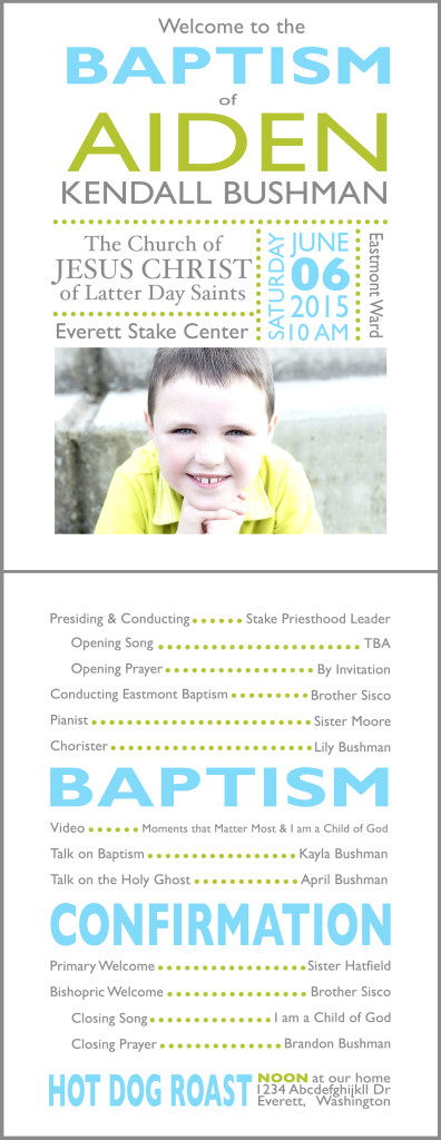 Aiden Baptism Program