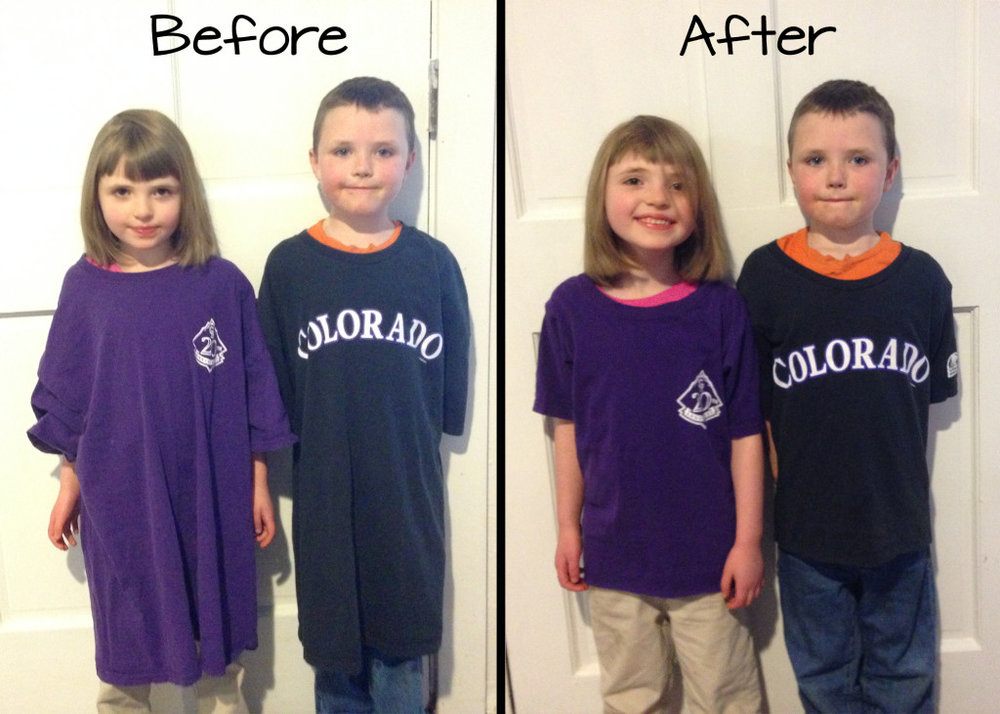 DIY Free Shirts made into Kid Size
