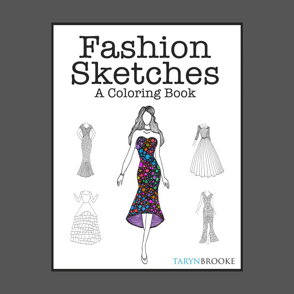Fashion Sketches - An adult coloring book, 100 designs