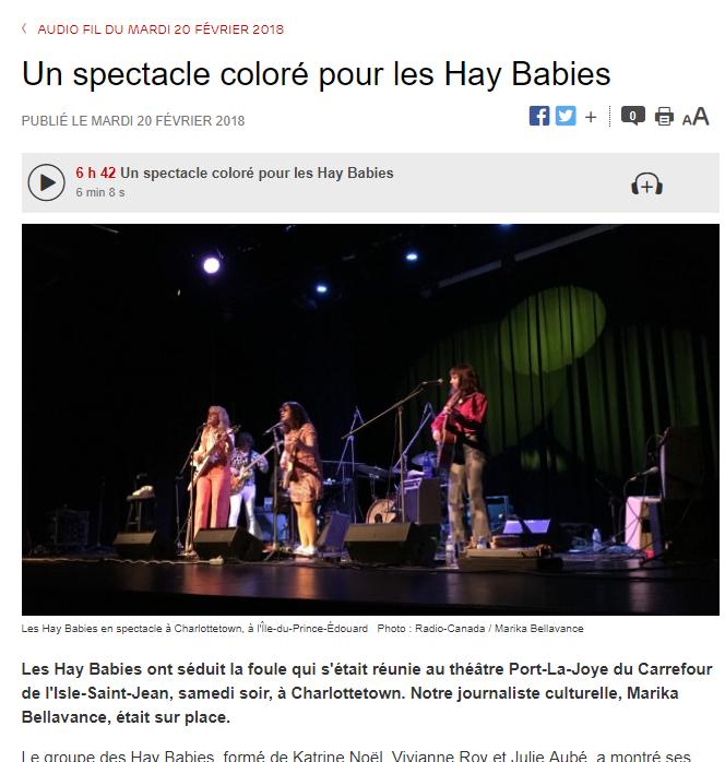 ''Les Hay Babies ont séduit la foule...'' - Ici Radio Canada