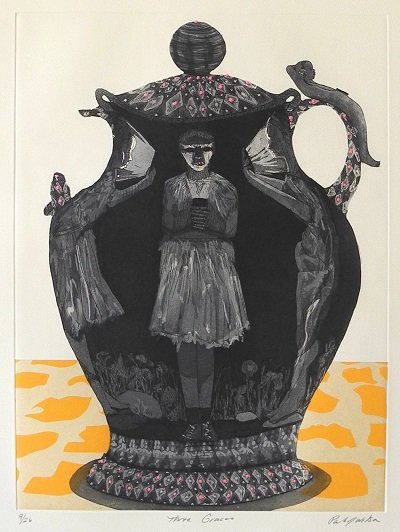 Three Graces , 2012, intaglio print with screen print and chine colle, 19.5x15 inches. Produced and editioned at City Editions, City College, New York, NY, ed. 21/26