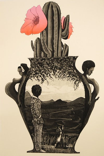New Development , 2012, intaglio with screen print, 30x15 inches. Produced and editioned at MassArt's Master Print Series, Massachusetts, MA, ed. 23/27