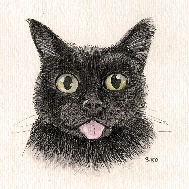 #blackcatsofinstagram #blackcat #kitty #petportrait #watercolors #staedtler #ink #drawing #painting