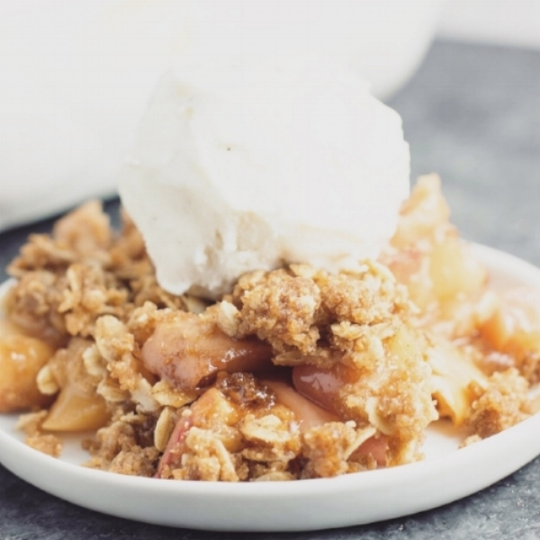 SIMPLE APPLE CRUMBLE WITH COCONUT ICE CREAM