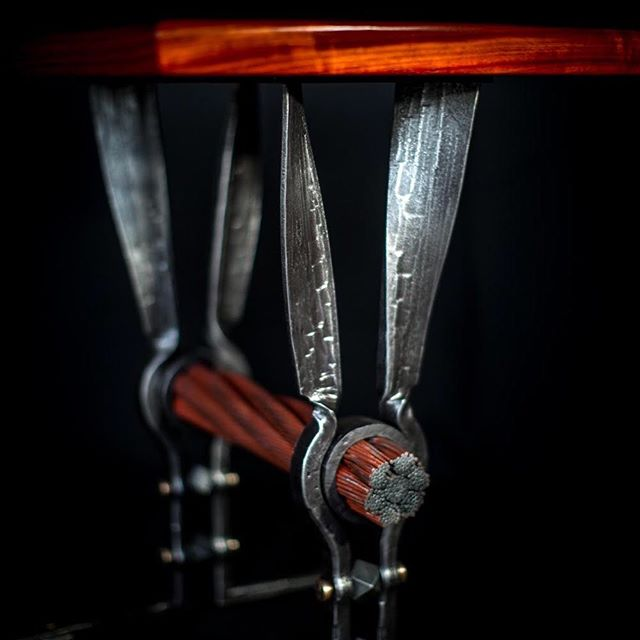 Details. @strandsofhistory table. #busheybrothers #busheyironworks #forgedtable #blacksmithing #goldengatebridge #goldengatebridgecable  Photo by : @paintedcavemarta