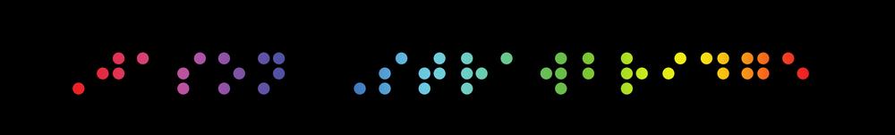 Jason Strawbridge (picture using rainbow colour Braille)