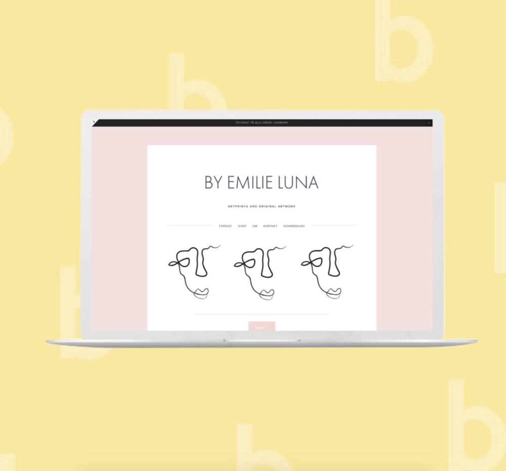 Webshoppen som Emilie har bygget og designet under vors 6 ugers forløb.