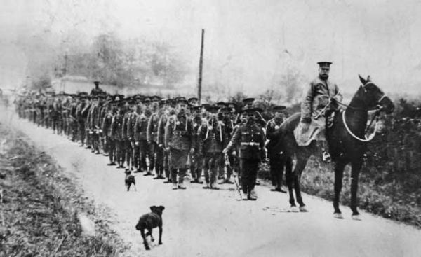 10th Royal Inniskilling Fusiliers on the march to Londonderry, May 1915