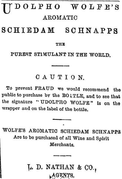 An 1874 advertisement for Udolpho Wolfe's Aromatic Schnapps. Image: Auckland Star 14/3/1874: 1.