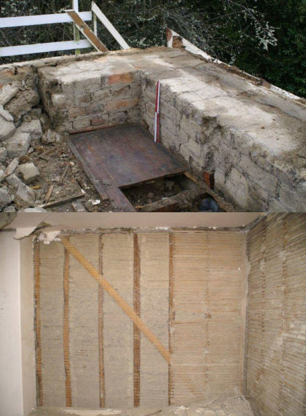 Top: An external wall, Cracroft House. Bottom: An internal mud & stud wall on the first floor.