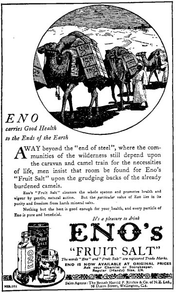 Advertisement for Eno's Fruit Salts from 1935. Image: Auckland Star, 1935.
