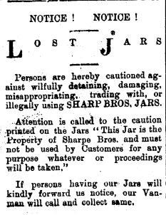 Sharpe brothers newspaper notice about returning jars. (Thames Star 7/3/1911)