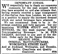 Notice posted by Sharpe Brothers about the order of Jars from England. Press (20/4/1905)