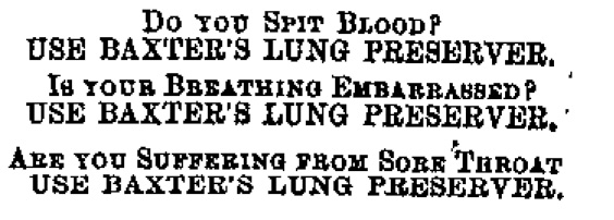 Advertisement for Baxter's Lung Preserver.