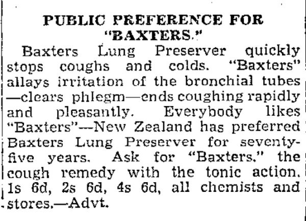 Advertisement for Baxter's Lung Preserver from 1939.