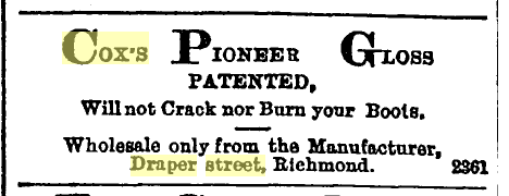 The advertisement that Cox placed in the Star (Star 10/12/1886: 4).