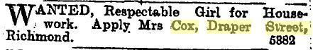 Mrs Cox advertising for a servant, 1900 (Star 5/3/1900: 3).