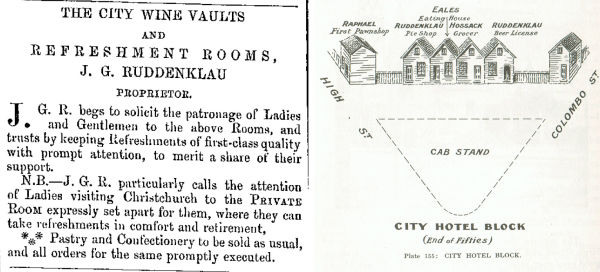 An advertisement for the City Wine Vaults (left) and a drawing of what became the City Hotel block, with Ruddenklau's pie shop and beer store visible at either end (right). Image: Lyttelton Times 17/8/1861: 5; Andersen, 1949: 270.