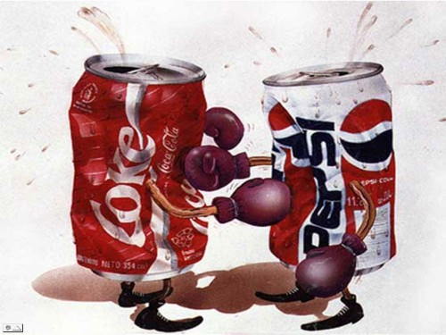 Cartoon of soft drink rivals Coke and Pepsi battling it out. Image from Neatorama