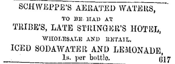 Advertisement for Schweppe's aerated water from the Lyttleton Times, 5/02/1862.