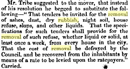 The motion passed by the Christchurch City Council, outlining how the council would charge for rubbish collection (Press 25/11/1863: ).