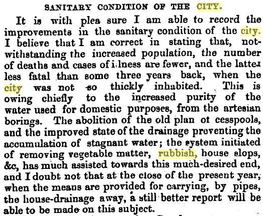 An official report on rubbish collection (Press 12/1/1865: 4).
