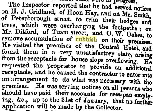 Problems with rubbish collection (Press 22/3/1865: 2).