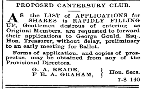 Advertisement calling for founding members for the Canterbury Club. Image: Press 10/7/1872: 1.