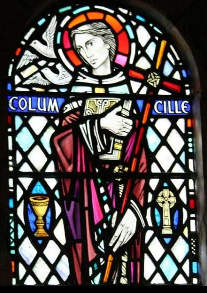 A stained glass window depicting Saint Columba in Iona Abbey, Scotland.