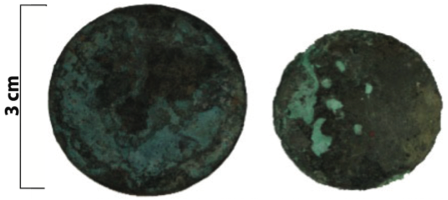 The bronze penny (left) and half-penny (right) recovered from Grubb cottage.