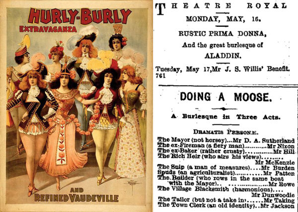 Advertisements for burlesque and vaudeville