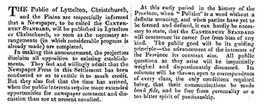 An article in the Lyttelton Times in 1853, announcing the establishment of the Canterbury Standard, to be