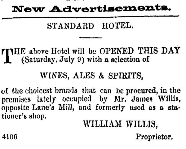 Advertisement for the opening of the Standard Hotel in July 1864, emphasising the selection of alcohol available. Image: Lyttelton Times