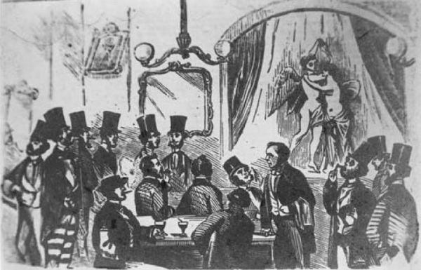 Woodcut of a performance of poses plastique at the Coal Hole in the Strand, c. 1854. Image: Wikimedia commons.