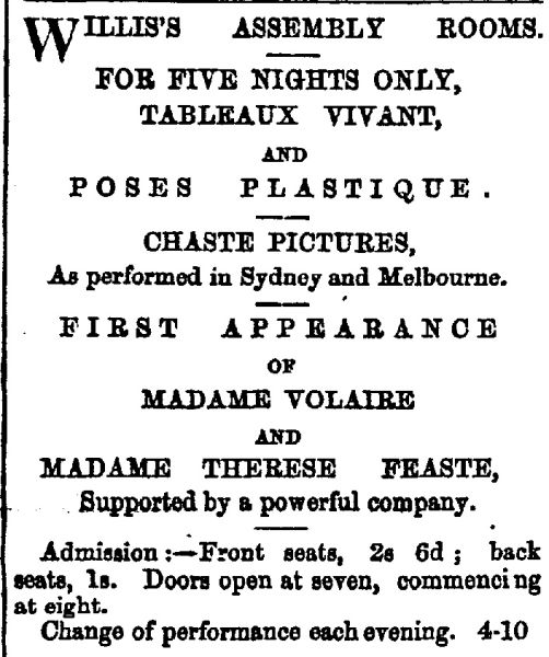 Advertisement for a performance of Poses Plastique at Willis's Assembly Rooms in 1866.