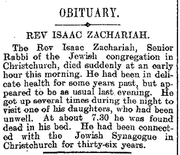 An obituary for the Reverend Isaac Zachariah, who died in 1906. Image: The Star 27/01/1906.