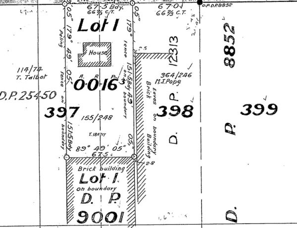 Part of a 1928 plan of the Gloucester street site, showing that a brick building had been constructed on the section by this year. Image: LandOnline.