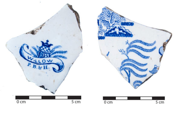 Fragments of a Pinder Bourne & Hope plate found at the site. Even though this plate must have been manufactured between 1847 and 1862, it was probably discarded much later than that. In the case of this site