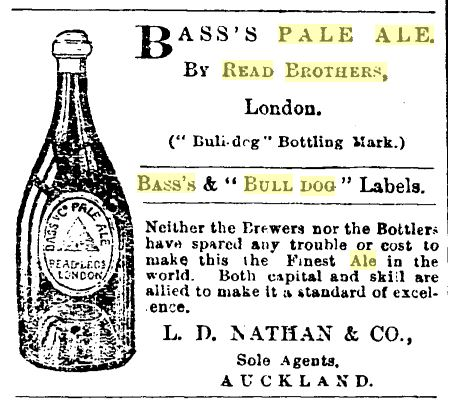 An 1878 advertisement for Bass's Pale Ale, bottled by the Read brothers. Image: New Zealand Herald 13/6/1878: 4.