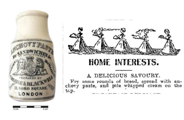 An Anchovy Paste jar found in Christchurch and accompanying recipe from 1904. Image: J. Garland, Otago Witness 17/08/1904: 67.
