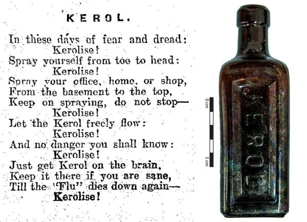 Kerol bottle found in Christchurch, along with 1920s poem singing the praises of the disinfectant. Images:  Colonist 24/02/1920; J. Garland.